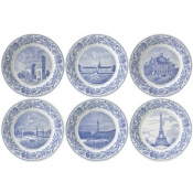 Gien Paris Monuments Bottle Coasters /  Assorted Set 6