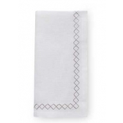 "Sferra Perry Set of 4 Dinner Napkins / 20"" - White & Putty"