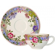 Millefleurs Set of 2 Tea Cups and Saucer