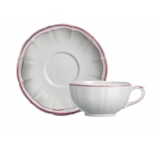 Filet Rose Breakfast Cups & Saucers / Set 2