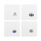 Sferra Gifts Cocktail Napkin 6X6  - Set 4 /Blue / Silver
