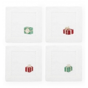 Sferra Gifts Cocktail Napkin 6X6 - Set 4 /Red / Green