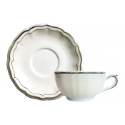 Filets Taupe Set of 2 Breakfast Cups and Saucer