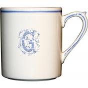 Gien Filet Bleu Monogram Mug / Set 6