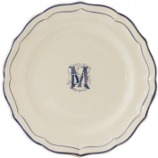 Gien Filet Bleu - Monogram Dinner Plate / Set 6