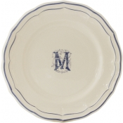 Gien Filet Bleu - Monogram Dessert Plate / Set 6