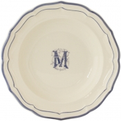 Gien Filet Bleu - Monogram Rim Soup / Set 6