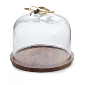 Michael Aram Olive Branch Glass Dome / Wood Base