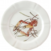 Gien Grands Crustaces Dinner Plate - Shrimp / Set 4