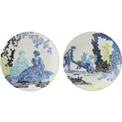 Gien Delices De Jouy Appetizer / Canape Plates - Set 2 Assorted
