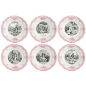 Gien Marriage A La Campagne Rose Dessert Plates / Set 6