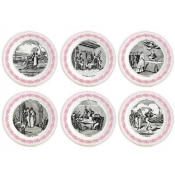 Gien Marriage A La Campagne Rose Bottle Coasters  / Set 6