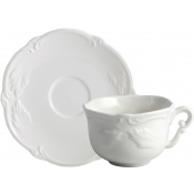 Rocaille White Breakfast Cups & Saucers - Set 2