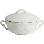 Rocaille White Covered Bouillon Cups & Saucers - Set 2