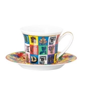 Versace Christmas Holiday Alphabet AD Cup & Saucer