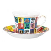 Versace Christmas Holiday Alphabet Cappuccino Cup & Saucer