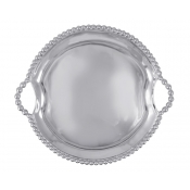 Mariposa Pearled Round Handled Tray