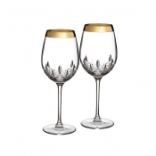 Lismore Essence Wide Gold Band Goblet, Pair