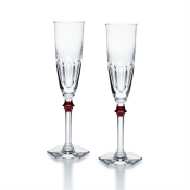 Baccarat Harcourt Eve Champagne Flute w/ Red Knob - Pair