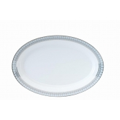 Arcades Grey & Platinum Oval Dish / Vegetable