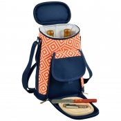 Picnic At Ascot Diamond Orange Two Bottle Wine and Cheese Tote