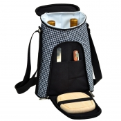 Picnic At Ascot Houndstooth Two Bottle Wine and Cheese Tote