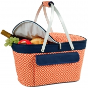 Picnic At Ascot Collapsible Insulated Basket Cooler Orange Diamond and Navy
