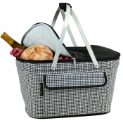 Picnic At Ascot Black Houndstooth Collapsible Insulated Basket Cooler