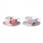 Teacup & Saucer Set/2 (Pink & Blue)