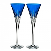 Waterford Lismore Pops Toasting Flute /Pair - Cobalt