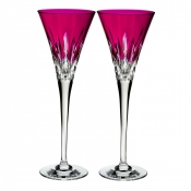 Waterford Lismore Pops Toasting Flute /Pair - Hot Pink