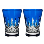 Waterford Lismore Pops Double Old Fashion / Pair - Cobalt