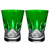Waterford Lismore Pops Double Old Fashion / Pair - Emerald