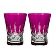 Waterford Lismore Pops Double Old Fashion / Pair - Hot Pink