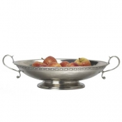 Match Pewter Bordered Oval Footed Centerpiece w/Handles