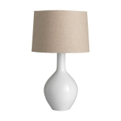 Alabaster Pottery Lamp w/ Natural Linen Shade
