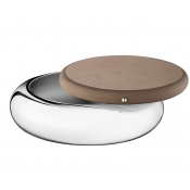 Christofle Collection Club Round Box - Large / Taupe Leather
