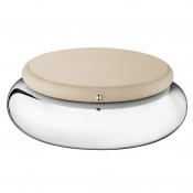Christofle Collection Club Round Box - Large / Greige Leather