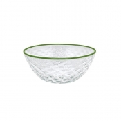 Mariposa Pineapple Texture Small Bowl - Green Rim