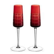 Christofle Graphik Champagne Flutes / Pair - Red