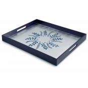 William Yeoward Fern Rectangular Tray - Blue/Silver Fern