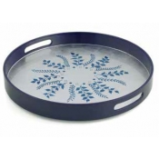 William Yeoward Fern Round Tray - Blue / Silver Fern