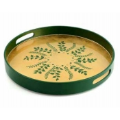 William Yeoward Fern Round Tray - Green / Gold