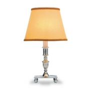 Match Pewter Ball Feet Table Lamp W/Raw Silk Shade