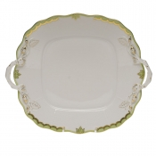 Princess Victoria Green SQUARE CAKE PLATE W/HANDLES  9""