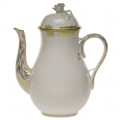 Princess Victoria Green COFFEE POT W/ROSE FINAIL