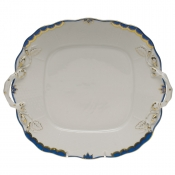 Princess Victoria Blue SQUARE CAKE PLATE with HANDLES - 9""