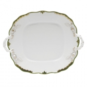 Herend Princess Victoria - Dark Green Square Cake Plate w/ Handles