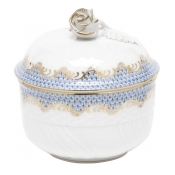 Herend Fishscale Light Blue Covered Sugar Bowl / Rose Lid