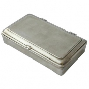 Match Pewter Rectangle Lidded Box w/ Leather, no divider